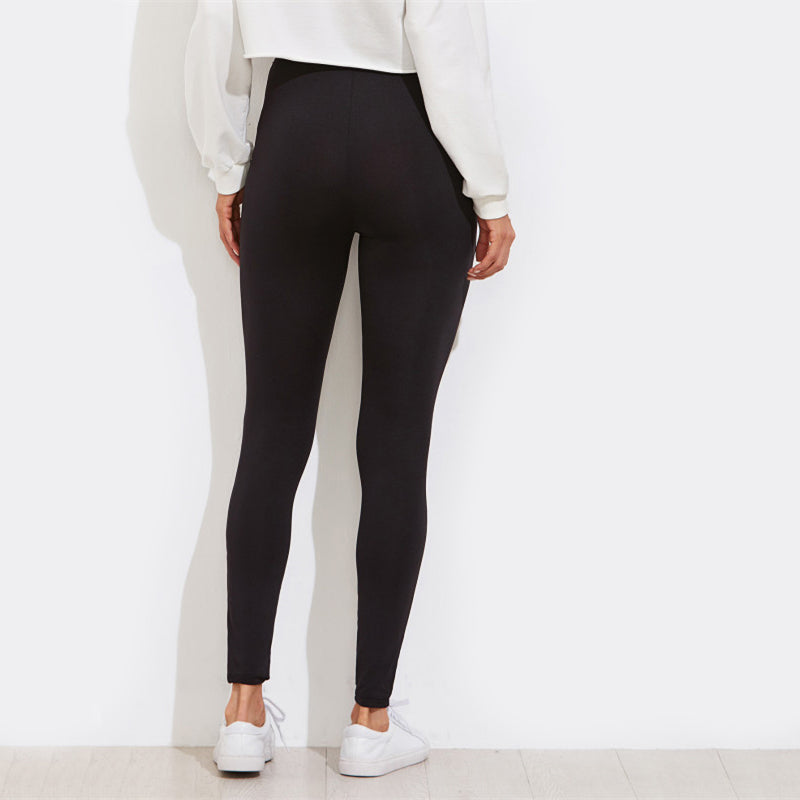 Black High Waist Workout Leggings  in Strawbie Collections - Girls Pants