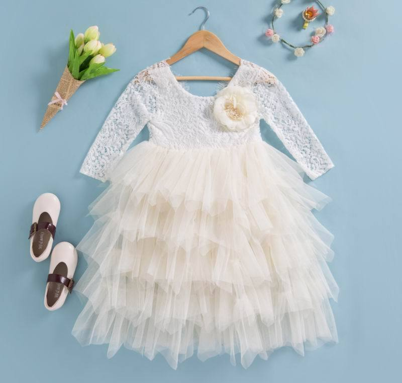 Lace Party Outfit With A Flower Pin beige flower pin / 10 in Strawbie Collections - party dress