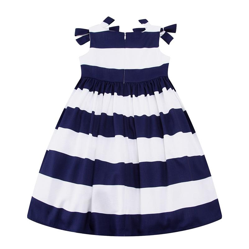 Striped Bow Lace Dress  in Strawbie Collections - girls dress