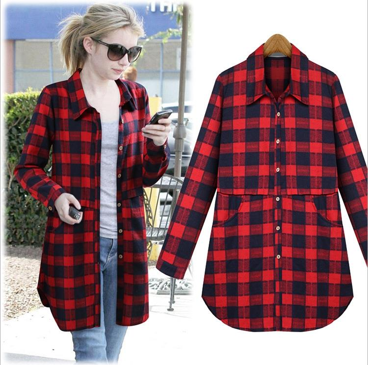 Plaid Cotton Long Blouse With Pockets Red / 4XL in Strawbie Collections - Girls Tops