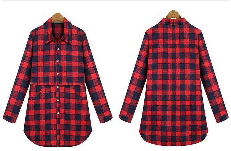 Plaid Cotton Long Blouse With Pockets  in Strawbie Collections - Girls Tops