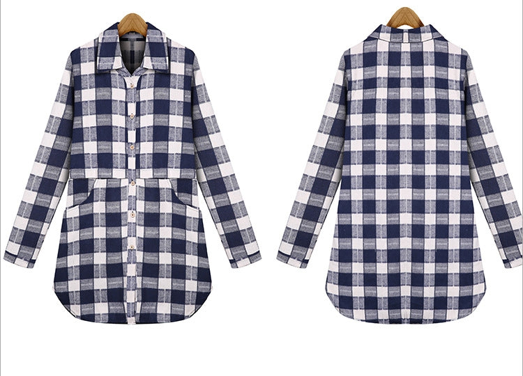Plaid Cotton Long Blouse With Pockets Blue / 4XL in Strawbie Collections - Girls Tops