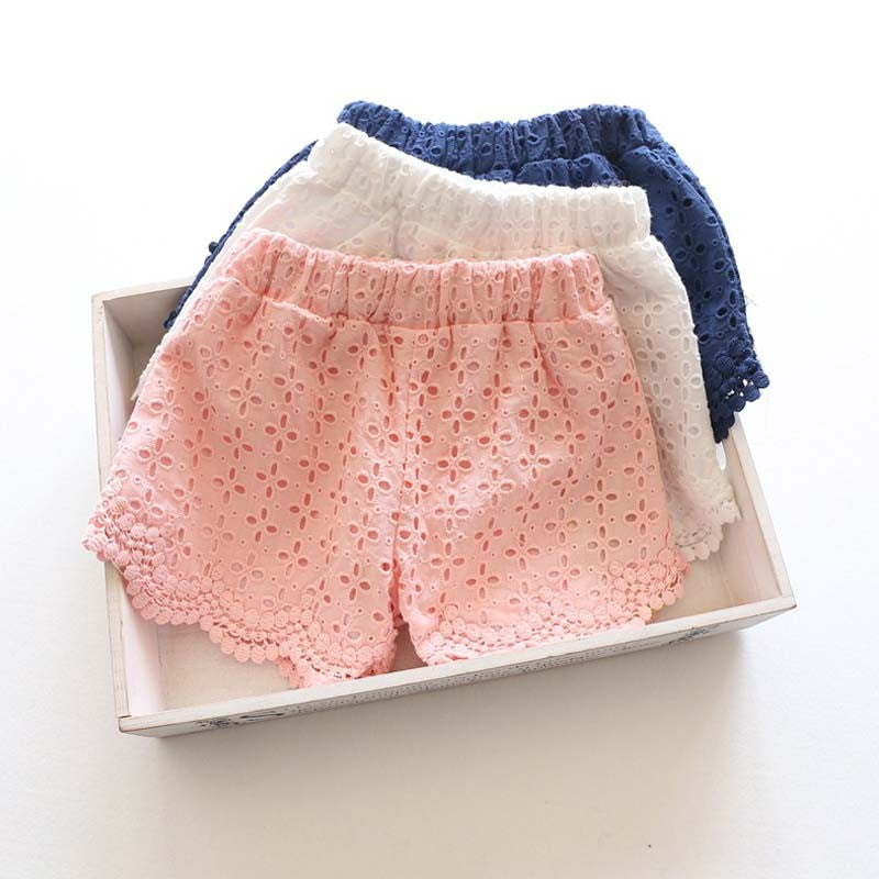 Princess Lace Shorts for Summer Spring  in Strawbie Collections - girls shorts