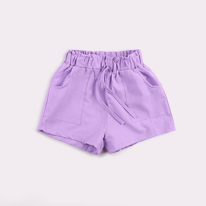 Candy Colored kids Shorts With Front Pockets purple / 7 in Strawbie Collections - girls shorts