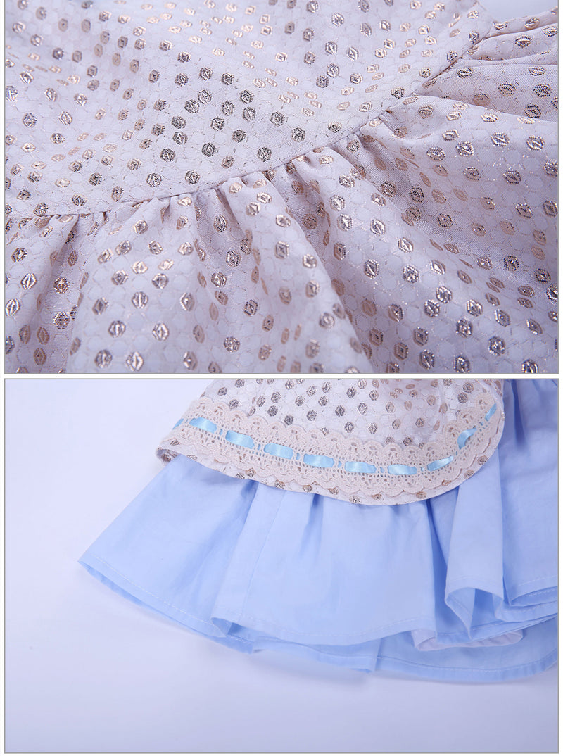 Princess Dress With Golden Dots And A Headband  in Strawbie Collections - girls dress