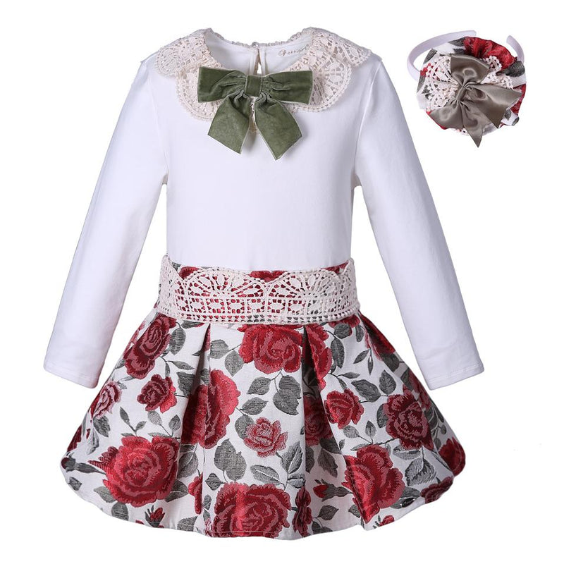 Floral Skirt With Pretty Bow Top Multi / 8 in Strawbie Collections - skirts n tops sets