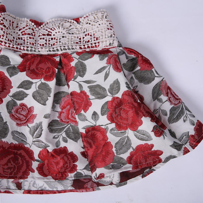 Floral Skirt With Pretty Bow Top  in Strawbie Collections - skirts n tops sets