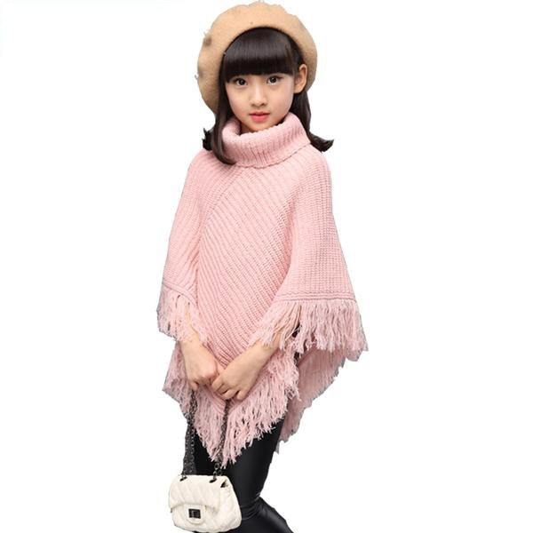 Turtle Neck Cloak Model Shawl With Tassels - Shawl sweater - pink / 5 - Strawbie Collections