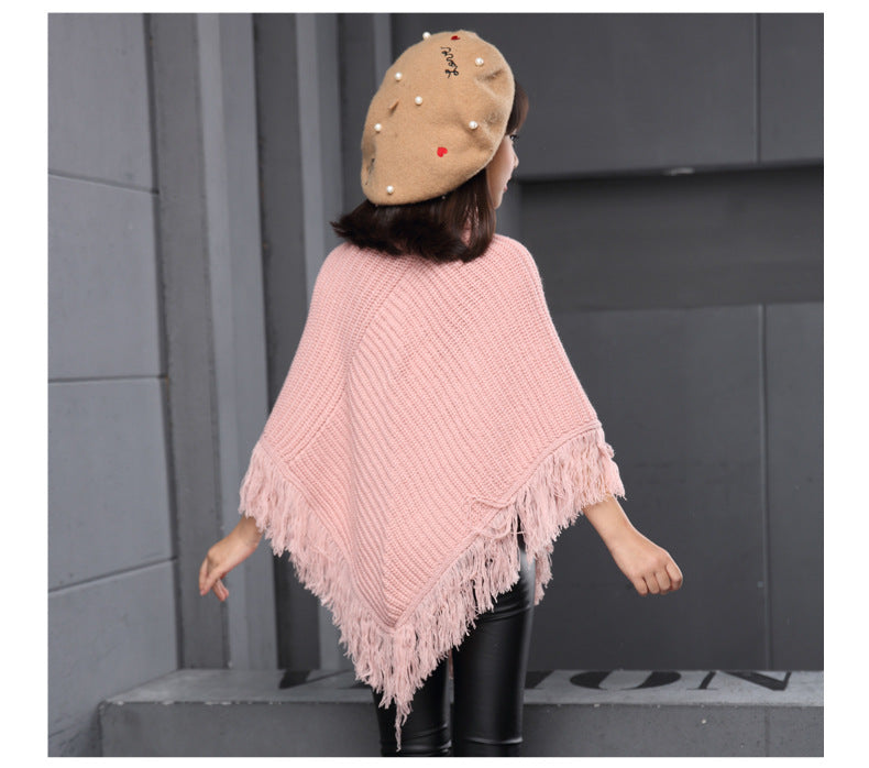 Turtle Neck Cloak Model Shawl With Tassels - Shawl sweater - - Strawbie Collections