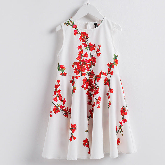 Floral Pattern Sleeveless Summer Dress White / 8 in Strawbie Collections - girls dress