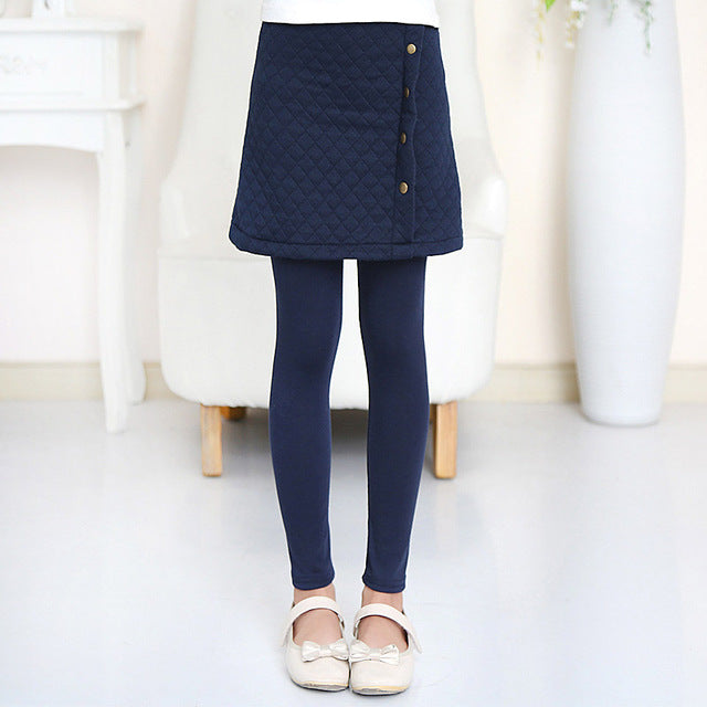 Spring Autumn Leggings With Slim Skirt navy blue / 14 in Strawbie Collections - Girls Pants