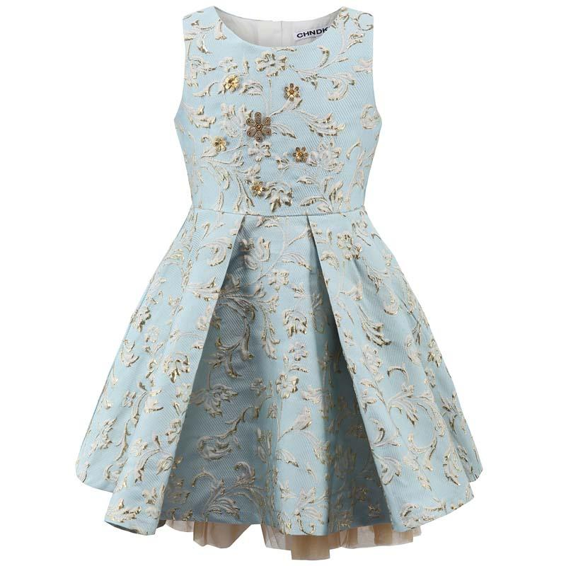 Floral Pattern Crew Neck Wedding Party Dress Sky Blue / 12 in Strawbie Collections - girls dress