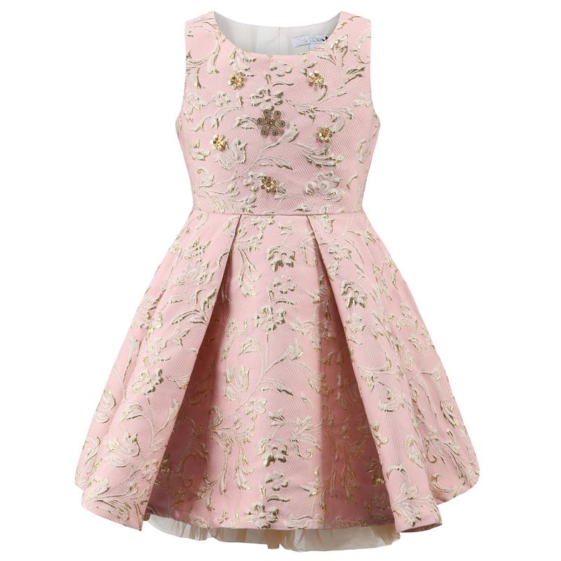 Floral Pattern Crew Neck Wedding Party Dress Pink / 12 in Strawbie Collections - girls dress