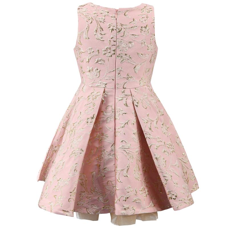 Floral Pattern Crew Neck Wedding Party Dress  in Strawbie Collections - girls dress