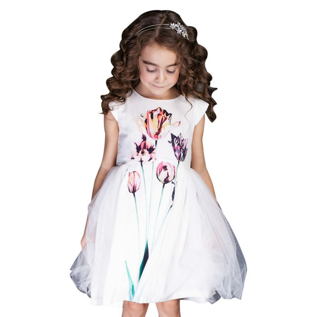 Tulip Print White Dress With Mesh Decoration White / 8 in Strawbie Collections - girls dress