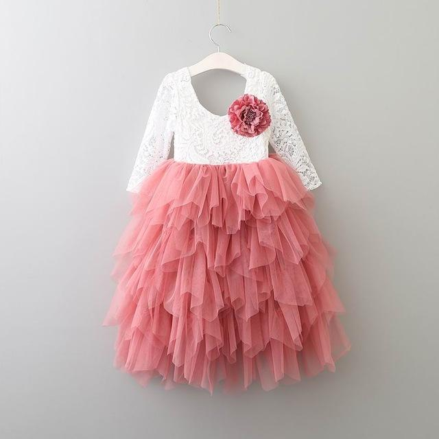 Lace Party Outfit With A Flower Pin Coral flower pin / 10 in Strawbie Collections - party dress