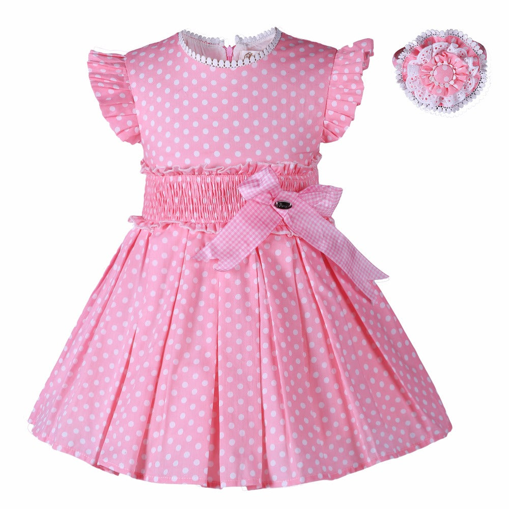 Cute Pink Dress With White Polka Dots And A Matching Handband Pink / 8 in Strawbie Collections - girls dress