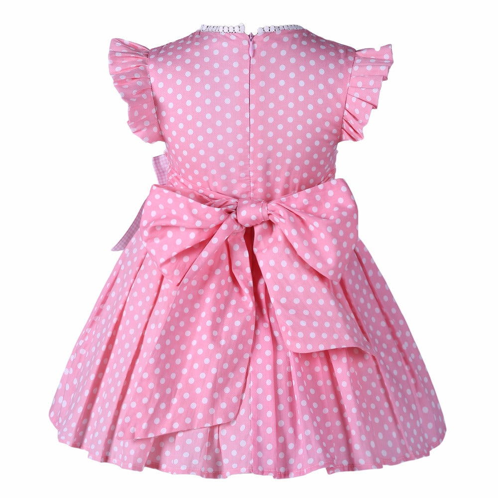 Cute Pink Dress With White Polka Dots And A Matching Handband - girls dress - - Strawbie Collections