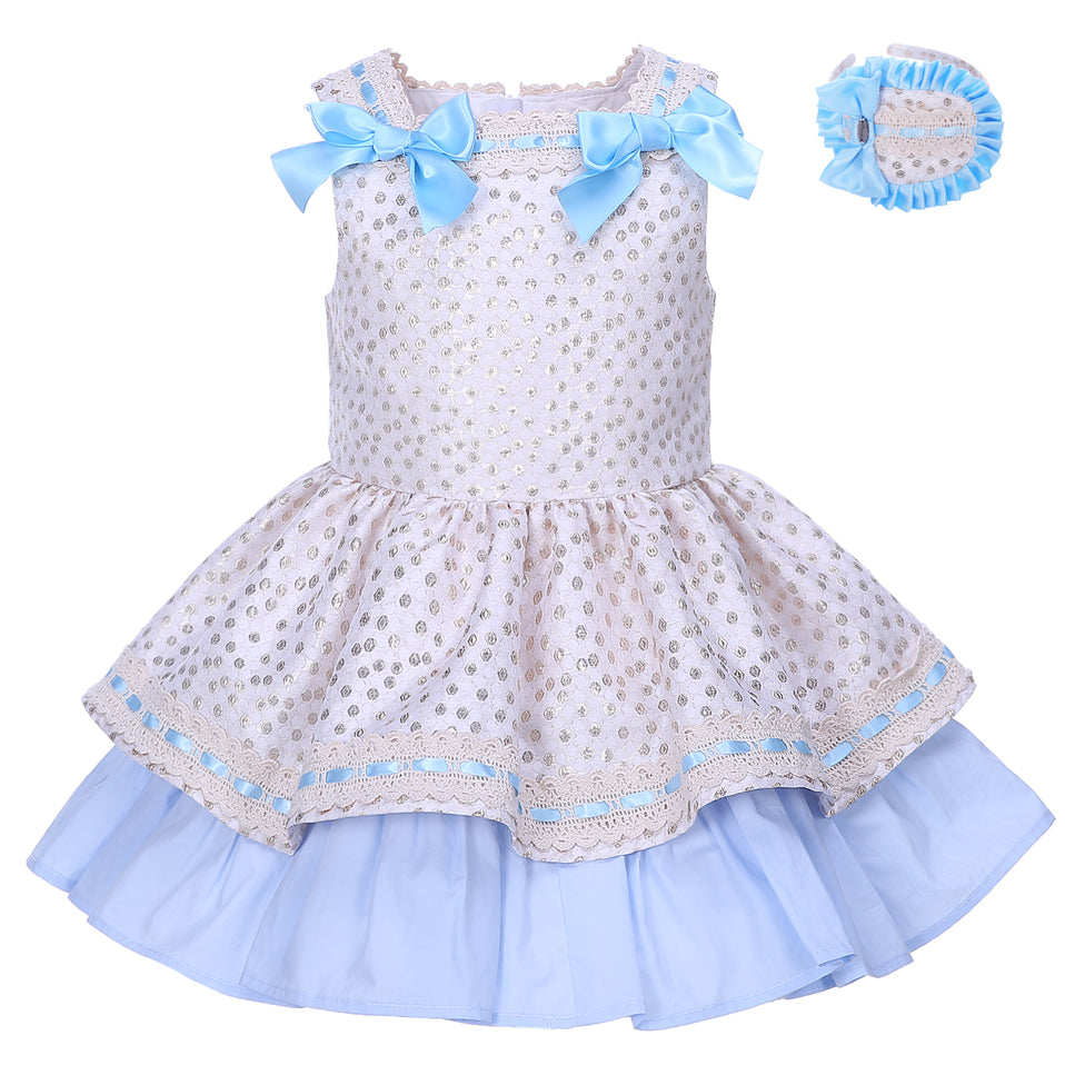 Princess Dress With Golden Dots And A Headband Blue / 8 in Strawbie Collections - girls dress