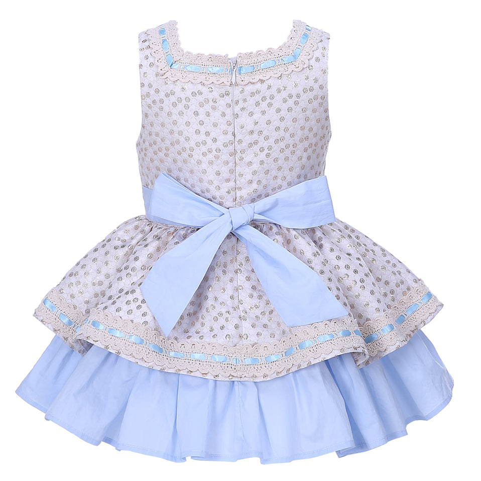 Princess Dress With Golden Dots And A Headband - girls dress - - Strawbie Collections