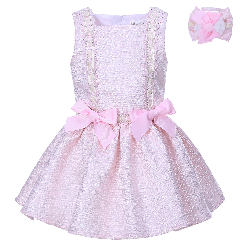 Shiny Pink Princess Dress With A Bow Headband Pink / 8 in Strawbie Collections - girls dress
