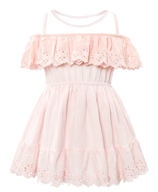 Casual Mesh Collar Cotton Dress Pink / 3 in Strawbie Collections - girls dress