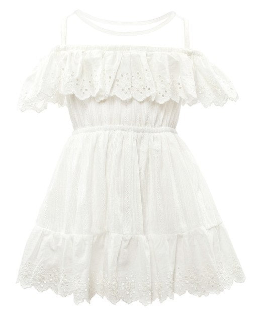 Casual Mesh Collar Cotton Dress White / 3 in Strawbie Collections - girls dress