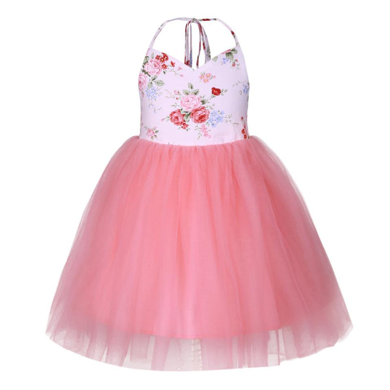 Flower Print Backless Dress Tutu dress Multi / 8 in Strawbie Collections - girls dress