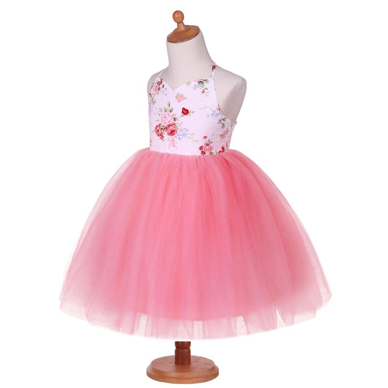 Flower Print Backless Dress Tutu dress  in Strawbie Collections - girls dress
