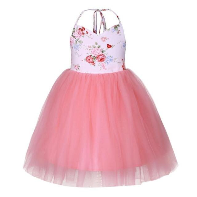 Flower Print Backless Dress Tutu dress Multi / 6 in Strawbie Collections - girls dress