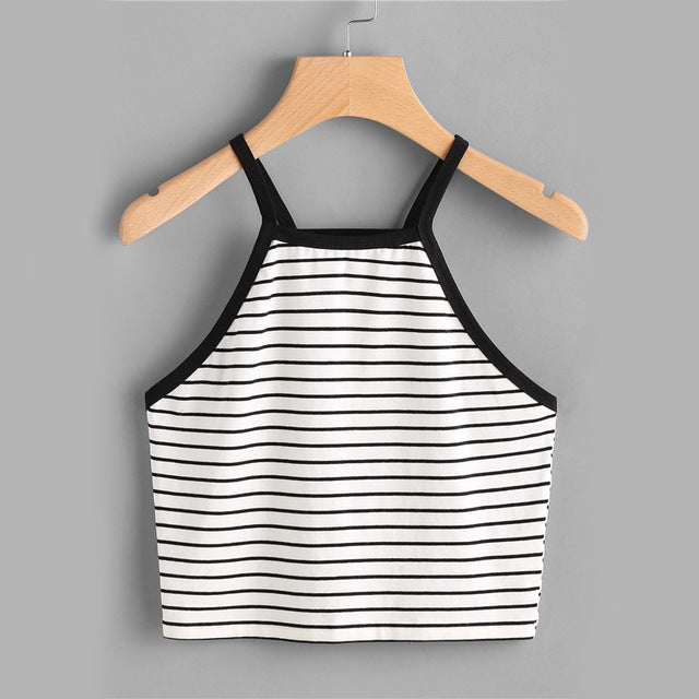 Stretchy Striped Spaghetti Strap Short Vest Black / L in Strawbie Collections - Girls Tops