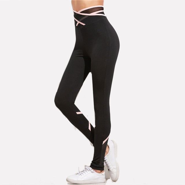 High Waist Elastic Active Leggings Black / L in Strawbie Collections - Girls Pants