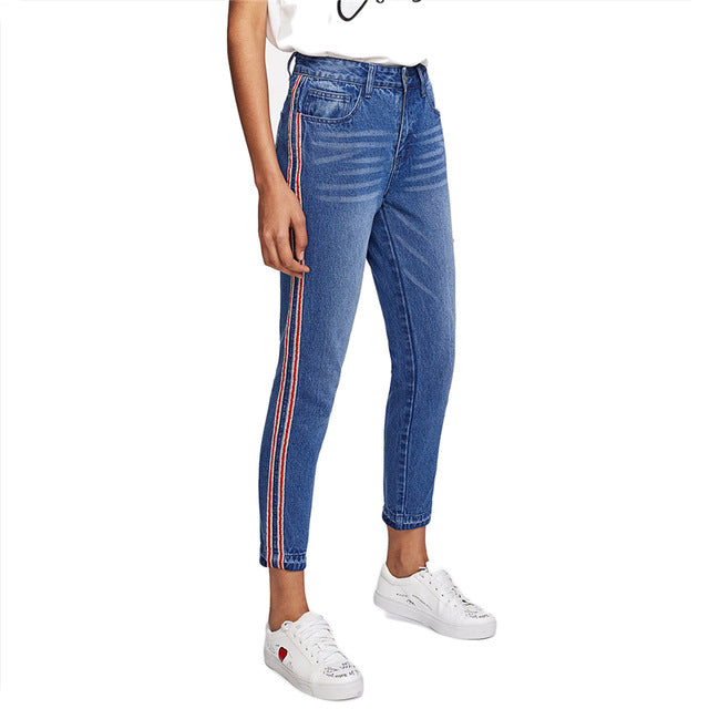 Mid Waist Crop Jeans With Side Stripes Blue / XL in Strawbie Collections - Girls Pants