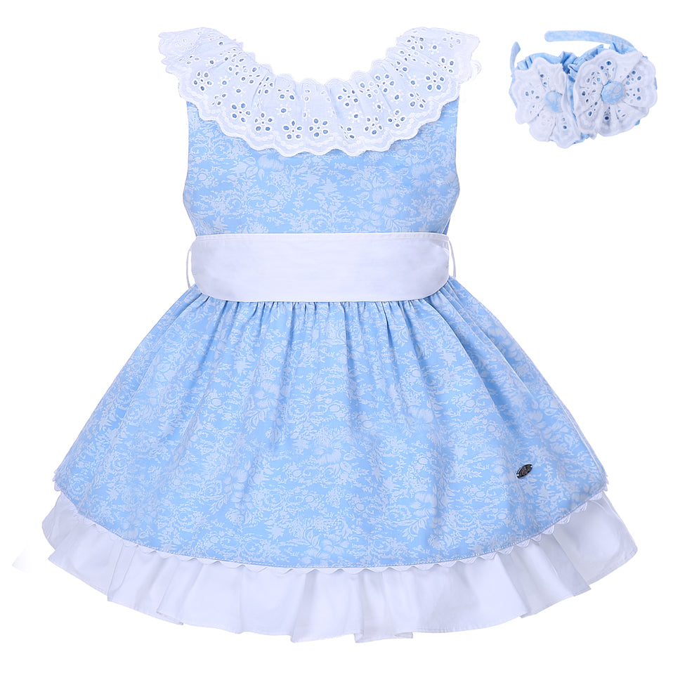 Lace Collared Beautiful Blue Dress With Headband Blue / 8 in Strawbie Collections - girls dress