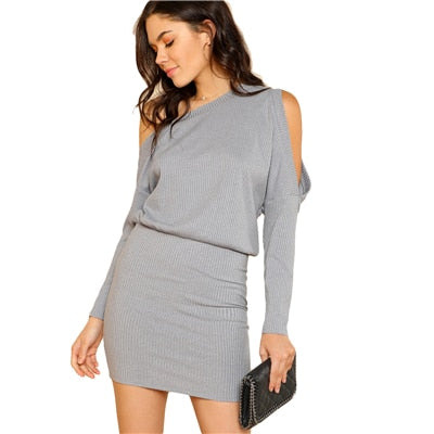 Elegant Party Pencil Dress With Asymmetric Neckline - girls dress - Gray / XS - Strawbie Collections