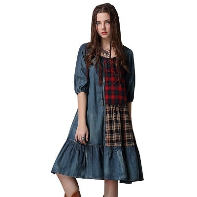 Plaid Patchwork Loose Fit Denim Dress Blue / L in Strawbie Collections - girls dress