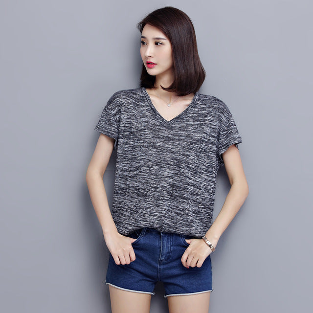 Hipster V-neck Tee top Gray / XXXL in Strawbie Collections - Girls Tops