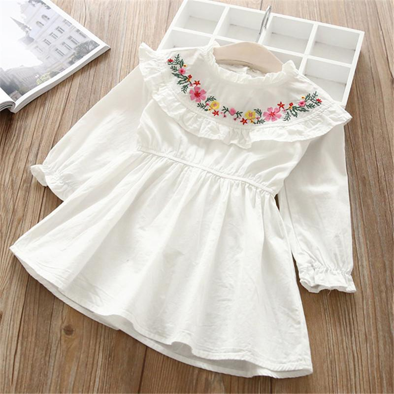 Long Sleeve Ruffle Neck Casual Dress white / 6 in Strawbie Collections - girls dress