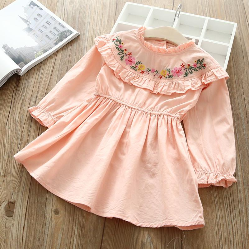 Long Sleeve Ruffle Neck Casual Dress pink / 6 in Strawbie Collections - girls dress