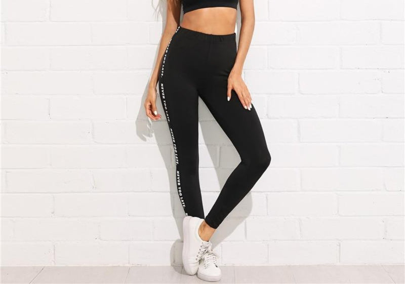 Stretchy Athleisure Leggings With Side Letter Printing  in Strawbie Collections - Girls Pants