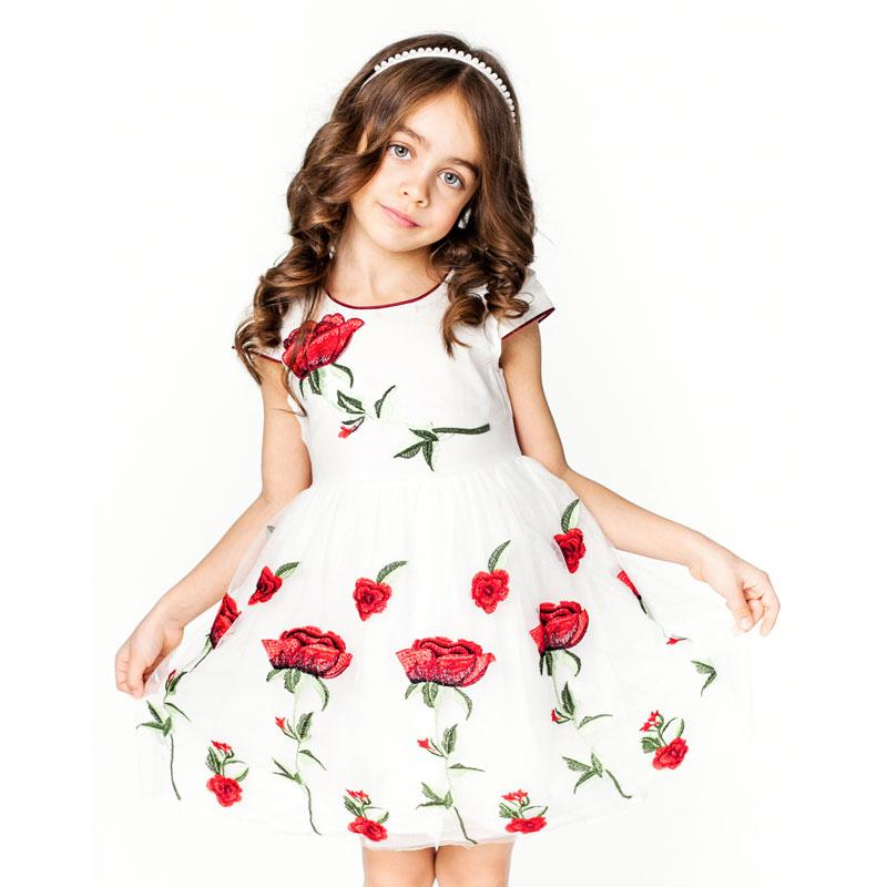 White Mesh Princess Dress With Rose Flower Embroidery White / 8 in Strawbie Collections - girls dress