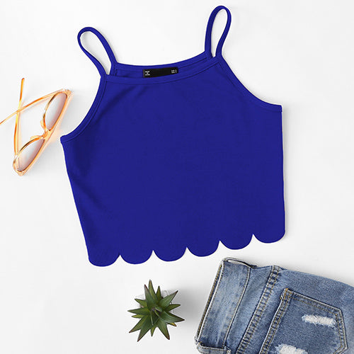 Scallop Hem Crop Top For Teens Blue / XS in Strawbie Collections - Girls Tops