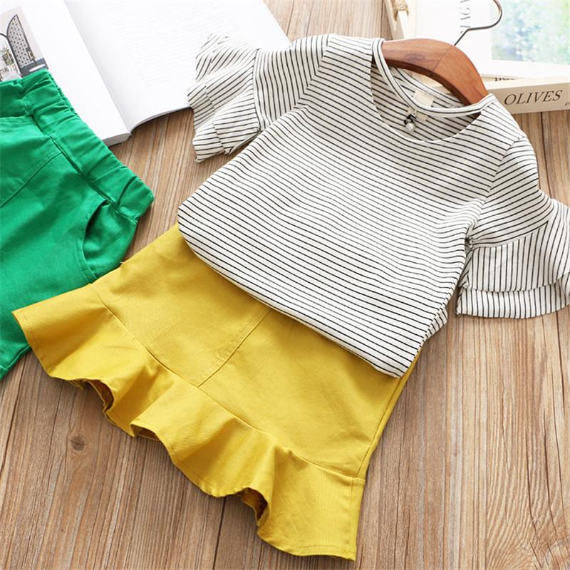 Flare Sleeve Shirt And Skirt Set Yellow / 6 in Strawbie Collections - skirts n tops sets