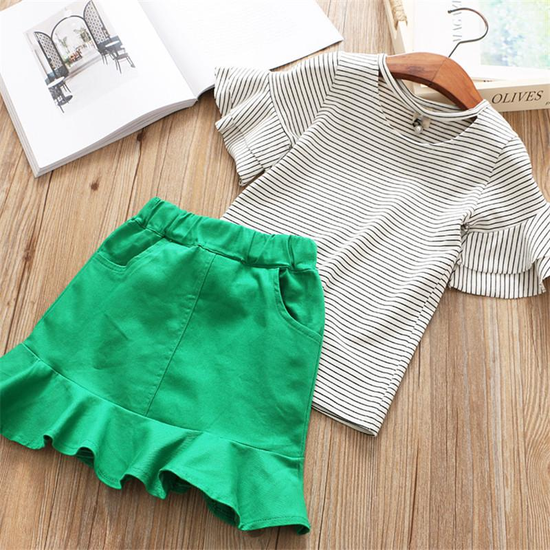 Flare Sleeve Shirt And Skirt Set Green / 6 in Strawbie Collections - skirts n tops sets