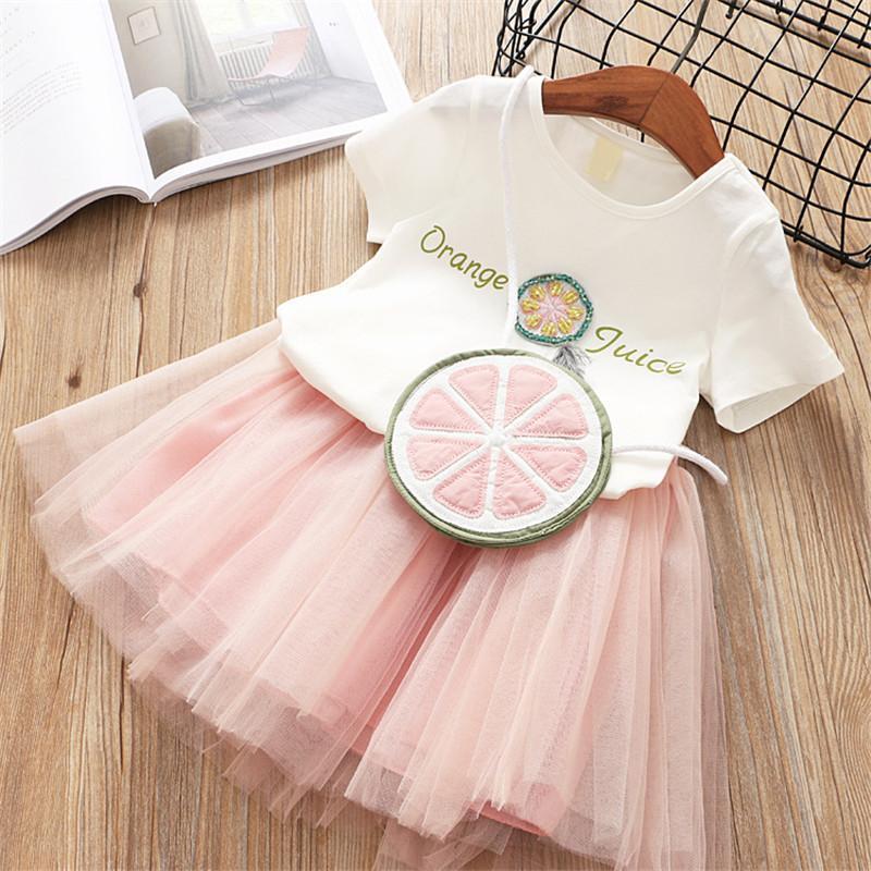 Soft Tee With Mesh Skirt Set Pink / 6 in Strawbie Collections - skirts n tops sets