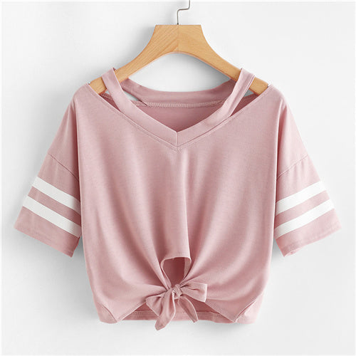 Lovely Pink Crop Top With Front Knot For Teens Pink / XL in Strawbie Collections - Girls Tops