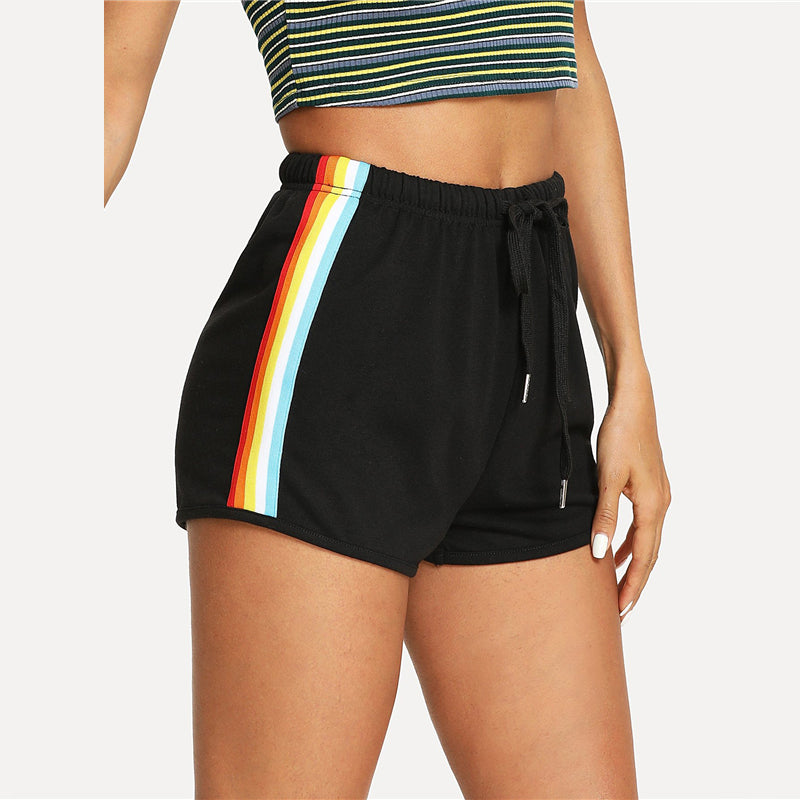 Striped  Drawstring  Elastic Waist Athleisure Shorts  in Strawbie Collections - girls shorts