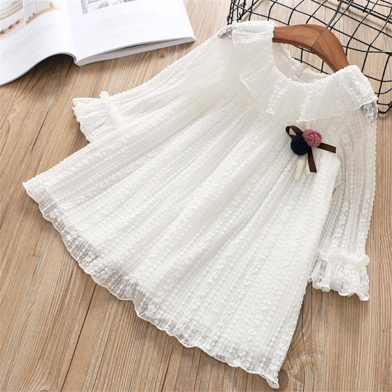 Lace Spring Dress With Flower Bow - girls dress - White / 2 - Strawbie Collections