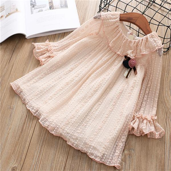 Lace Spring Dress With Flower Bow Pink / 6 in Strawbie Collections - girls dress