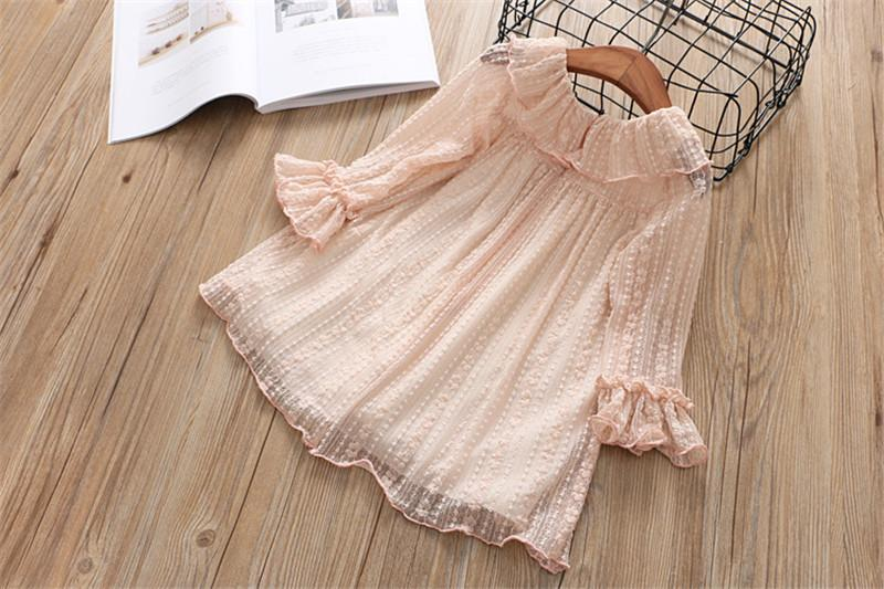 Lace Spring Dress With Flower Bow  in Strawbie Collections - girls dress